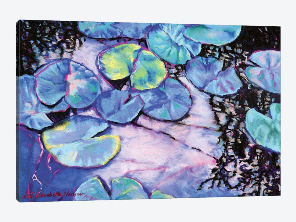 Water Lily Study In Blue by Zoe Elizabeth Norman 1-piece Canvas Artwork