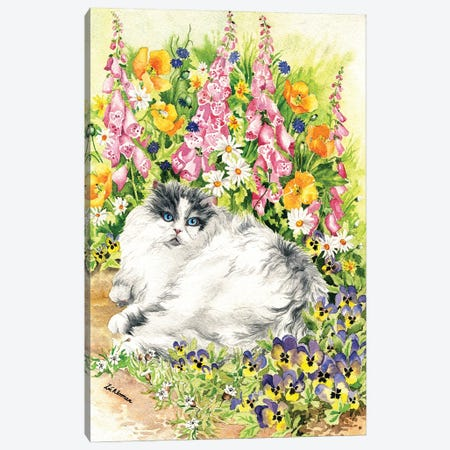 Persian Cat And Pansies Canvas Print #ZEN50} by Zoe Elizabeth Norman Canvas Print