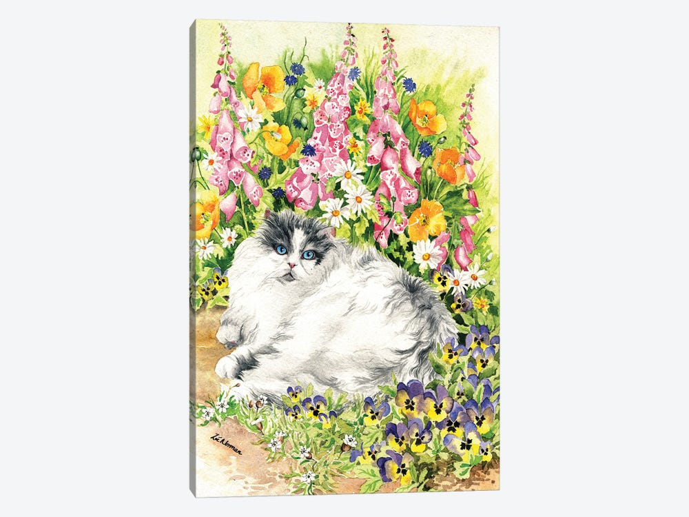 Persian Cat And Pansies by Zoe Elizabeth Norman 1-piece Canvas Art