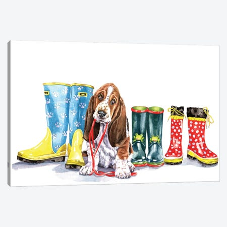 Puppy And Boots Canvas Print #ZEN53} by Zoe Elizabeth Norman Canvas Art Print