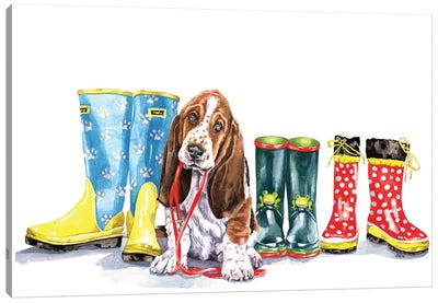 Puppy And Boots Canvas Art Print