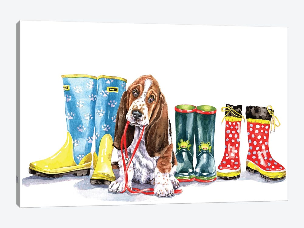 Puppy And Boots by Zoe Elizabeth Norman 1-piece Canvas Art Print