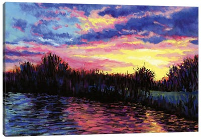 Sunset Over The Norfolk Broads Canvas Art Print