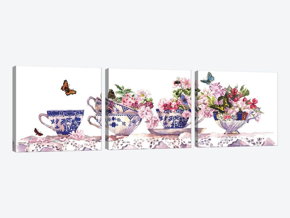 Tea Cups by Zoe Elizabeth Norman 3-piece Canvas Print