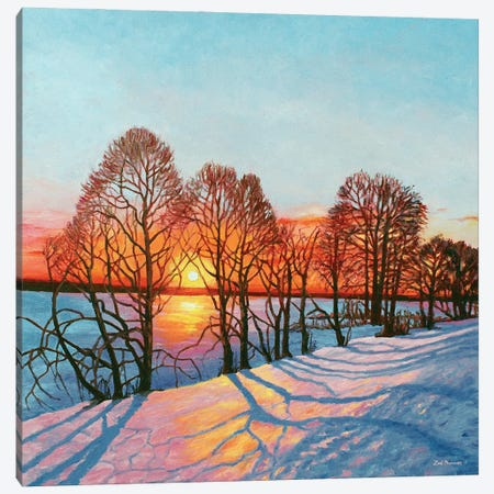 Winter Sunset Canvas Print #ZEN71} by Zoe Elizabeth Norman Art Print