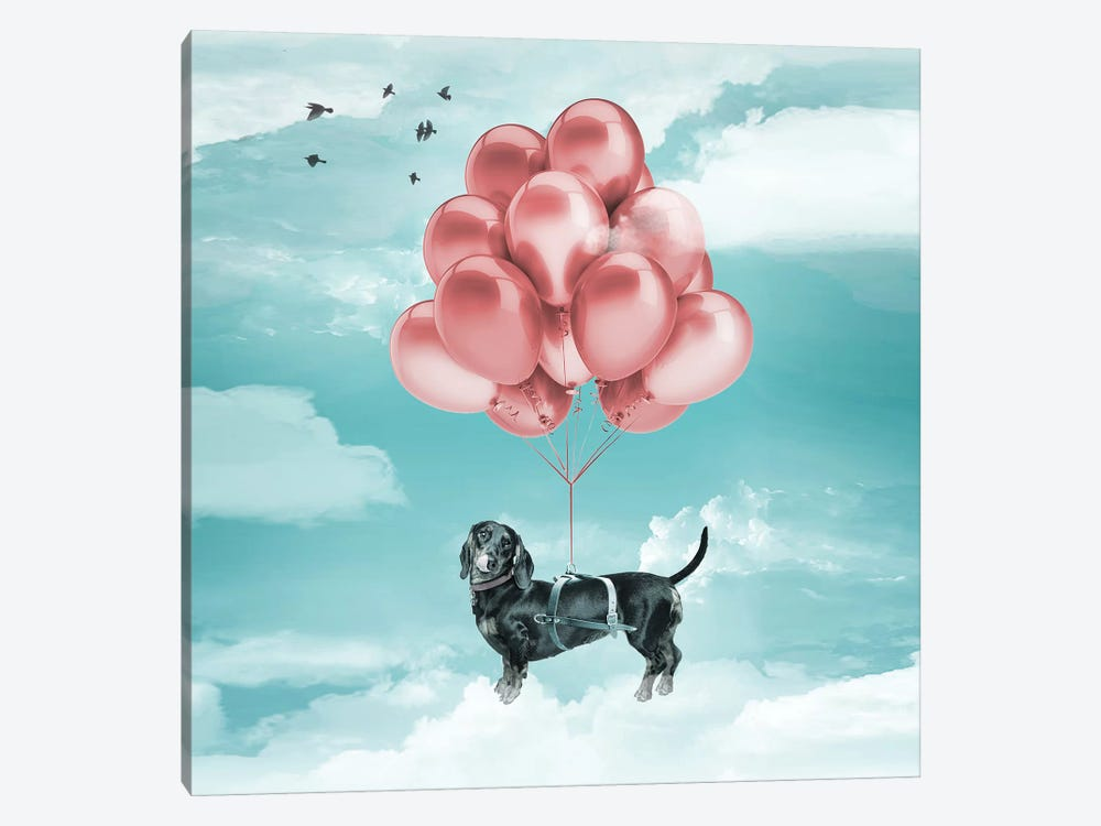 Sausage Dog Balloons by Vin Zzep 1-piece Canvas Art Print