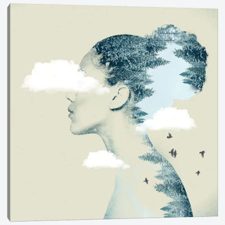 Double Exposure Hair I Canvas Print #ZEP11} by Vin Zzep Art Print