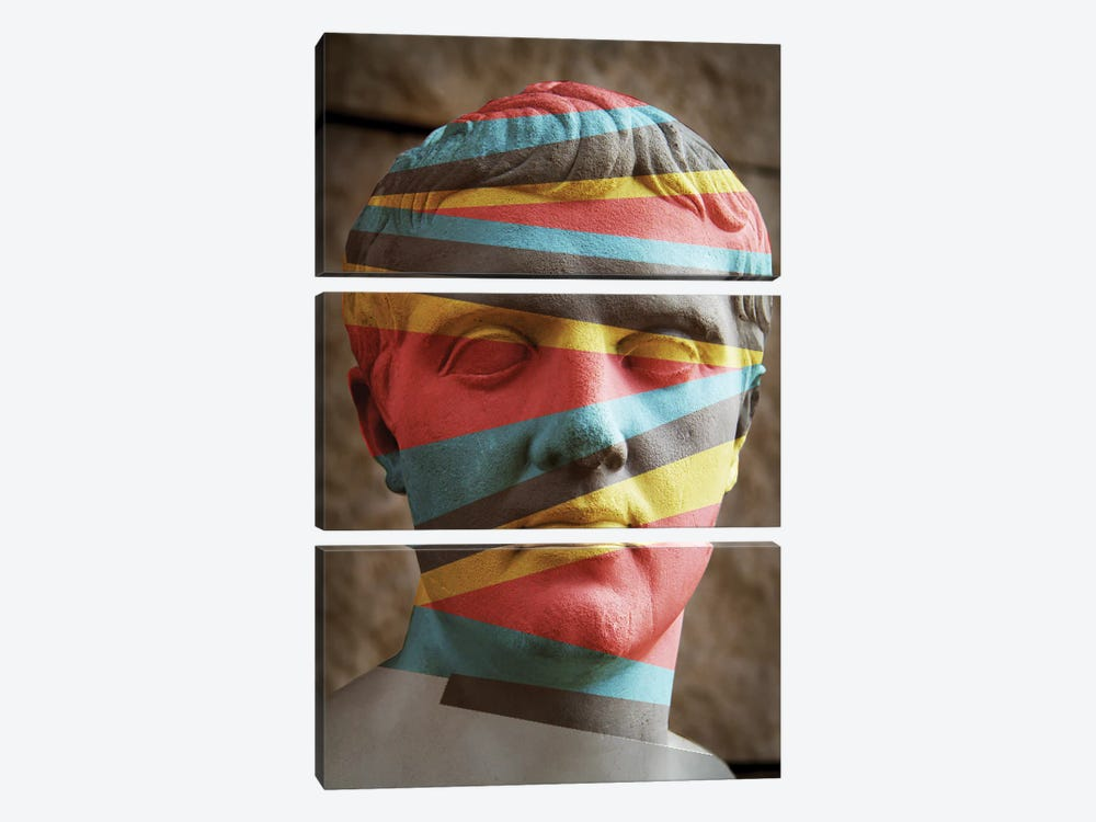 Statue Colours by Vin Zzep 3-piece Canvas Print