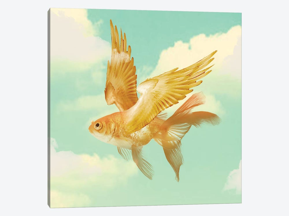 Flying Goldfish by Vin Zzep 1-piece Art Print