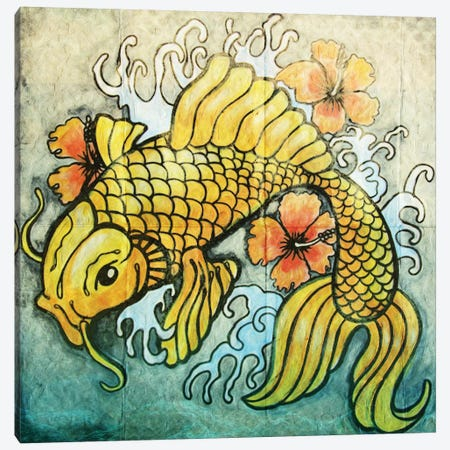 Koi Fish Canvas Print #ZEP29} by Vin Zzep Canvas Wall Art
