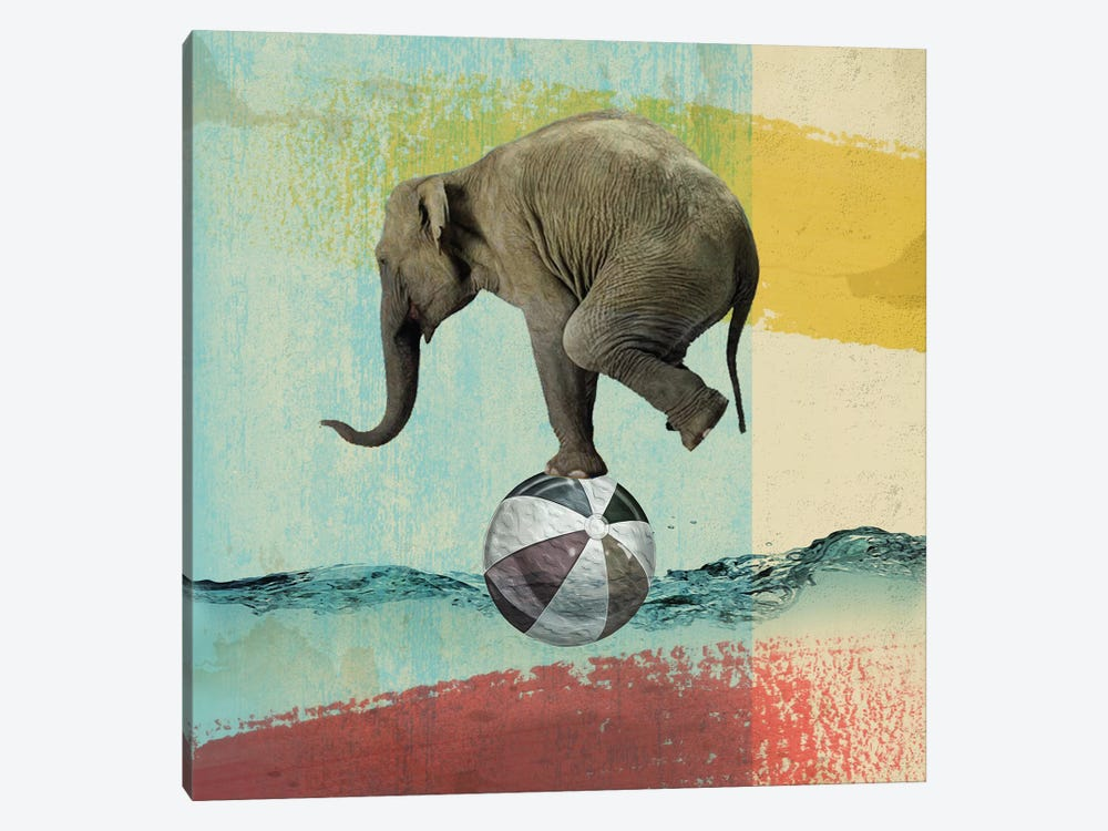 Balance Elephant by Vin Zzep 1-piece Canvas Art