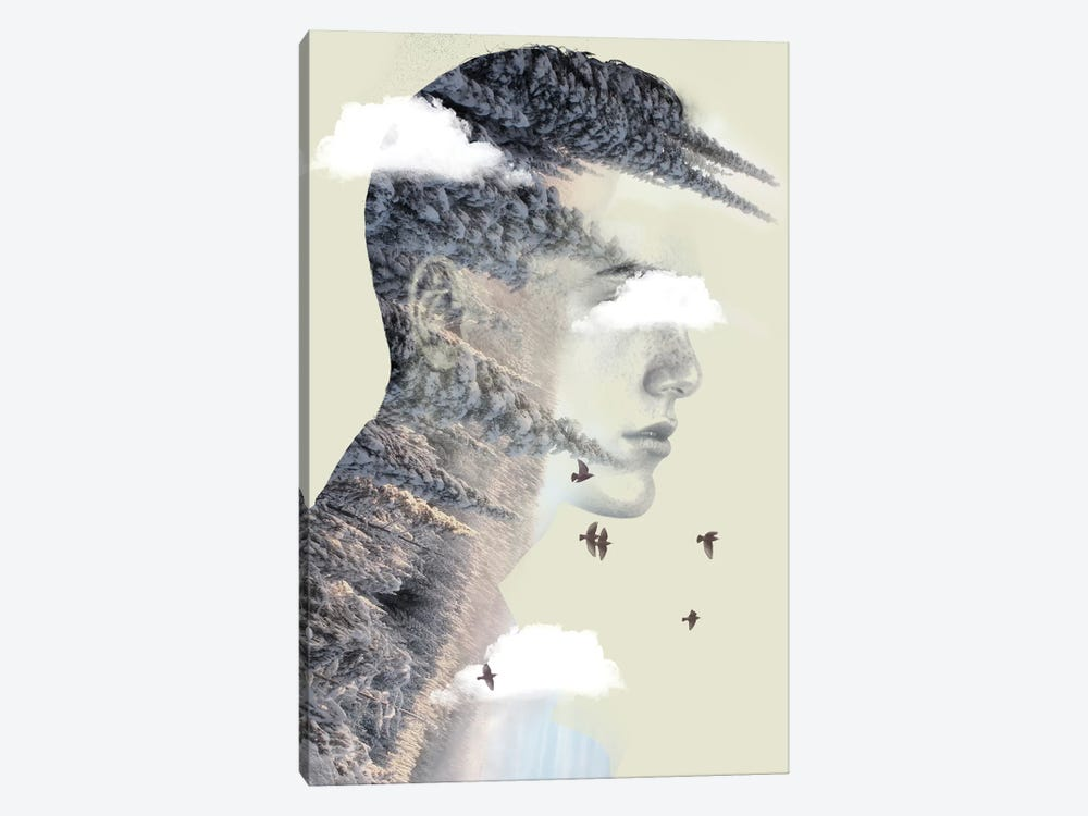 Double Exposure Hair V by Vin Zzep 1-piece Canvas Art