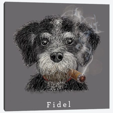 Fidel Cuban Native Canvas Print #ZEP71} by Vin Zzep Canvas Art Print