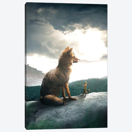 The Fox And Squirrel Canvas Print #ZGA102} by Zenja Gammer Canvas Art