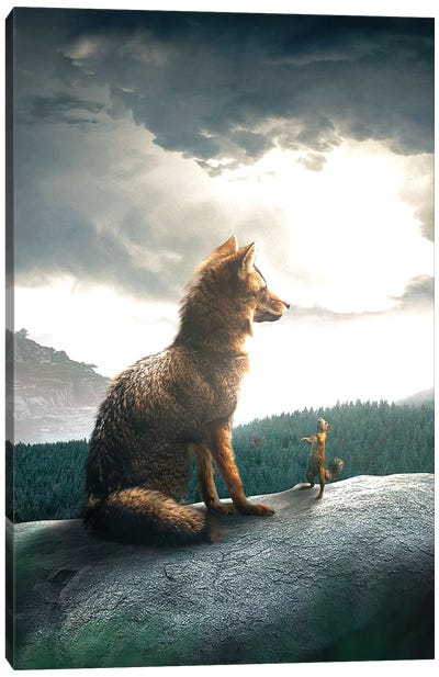 The Fox And Squirrel Canvas Art Print