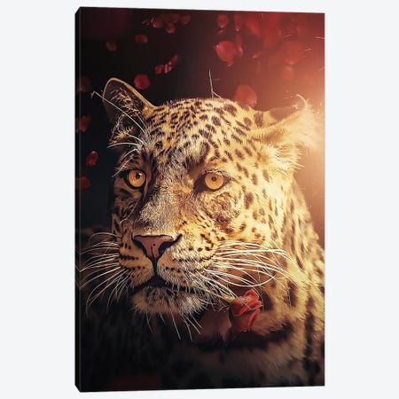 The Leopard With The Rose Canvas Print #ZGA112} by Zenja Gammer Canvas Print