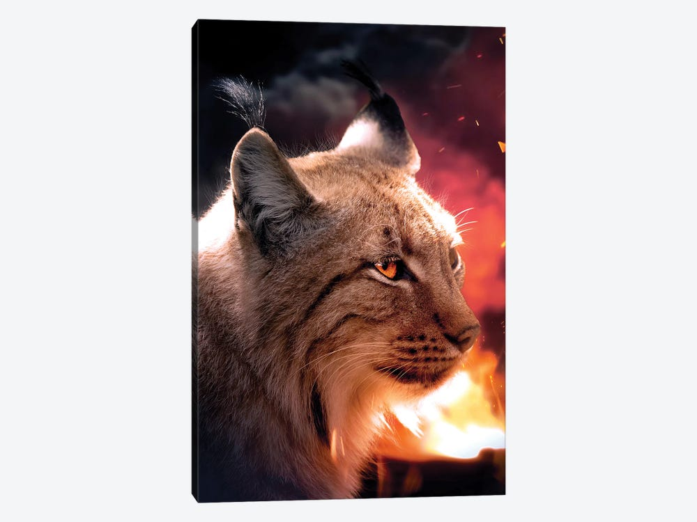 The Lynx And The Fire by Zenja Gammer 1-piece Canvas Print
