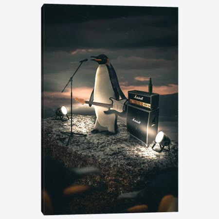 The Rockstar Penguin Canvas Print #ZGA125} by Zenja Gammer Art Print