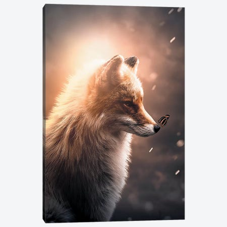 First Fox & Butterfly Canvas Print #ZGA13} by Zenja Gammer Canvas Print