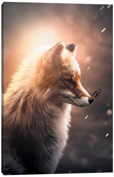 First Fox & Butterfly Canvas Art Print