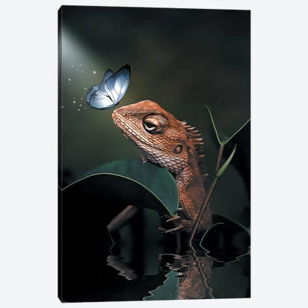 The Iguana & Butterfly Canvas Print #ZGA145} by Zenja Gammer Canvas Art Print