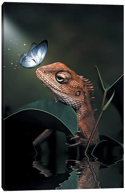 The Iguana & Butterfly Canvas Art Print