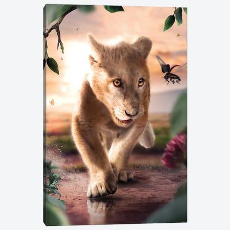 Happy Little Lion Cub Canvas Print #ZGA155} by Zenja Gammer Canvas Wall Art