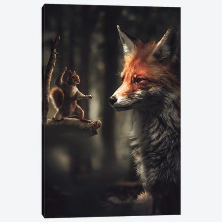The Karate Squirrel Canvas Print #ZGA157} by Zenja Gammer Canvas Wall Art