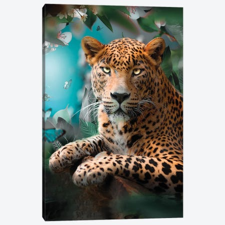 The Colorful Leopard Canvas Print #ZGA159} by Zenja Gammer Canvas Print