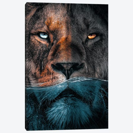 Badass Lion Canvas Print #ZGA164} by Zenja Gammer Canvas Print