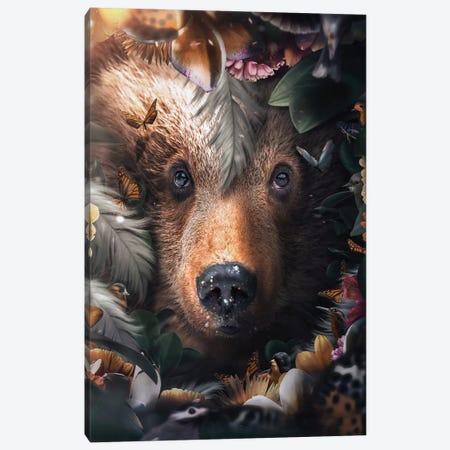 Floral Bear Canvas Print #ZGA169} by Zenja Gammer Canvas Artwork
