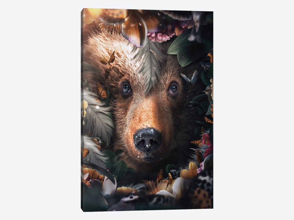 Floral Bear by Zenja Gammer 1-piece Canvas Print