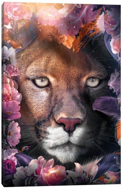 Floral Cougar Canvas Art Print