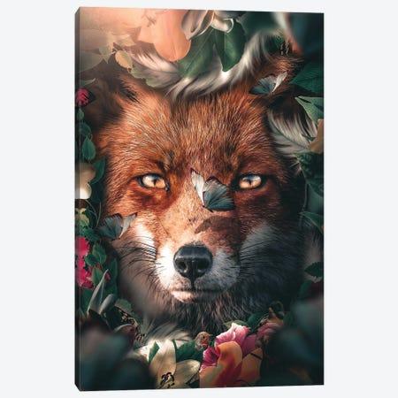 Floral Fox Canvas Print #ZGA173} by Zenja Gammer Art Print