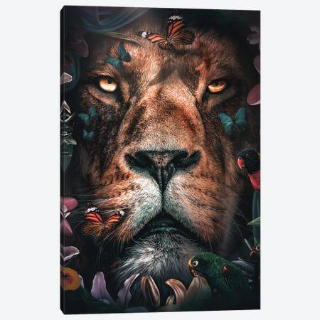 Floral Lion Canvas Print #ZGA175} by Zenja Gammer Canvas Artwork