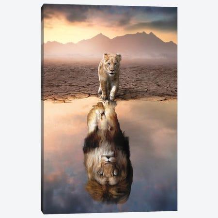 Lion Reflection Canvas Print #ZGA176} by Zenja Gammer Canvas Wall Art