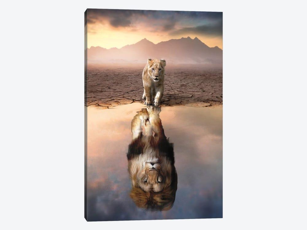 Lion Reflection by Zenja Gammer 1-piece Art Print