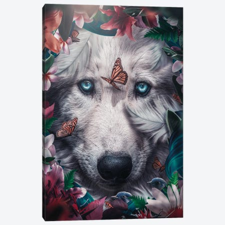 Floral Wolf Canvas Print #ZGA178} by Zenja Gammer Canvas Print