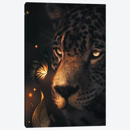 Leopard Glowing Butterfly Canvas Print #ZGA27} by Zenja Gammer Canvas Print