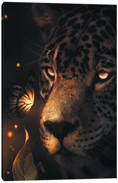 Leopard Glowing Butterfly Canvas Art Print