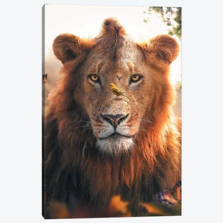 Lion Bird Canvas Print #ZGA32} by Zenja Gammer Art Print