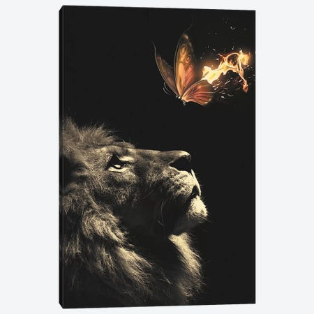 Lion Butterfly Canvas Print #ZGA33} by Zenja Gammer Canvas Art Print