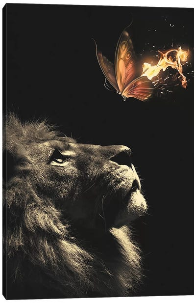 Lion Butterfly Canvas Art Print