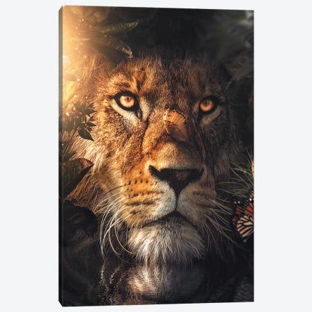 Lion Hiding Canvas Print #ZGA37} by Zenja Gammer Canvas Art