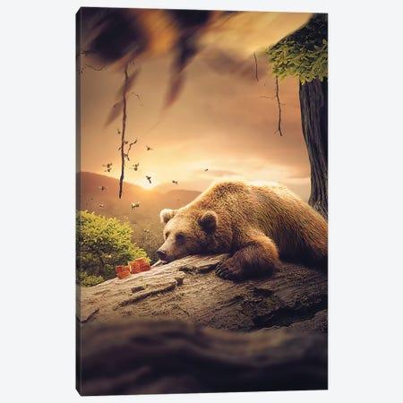 Bear Honey Canvas Print #ZGA4} by Zenja Gammer Canvas Art Print