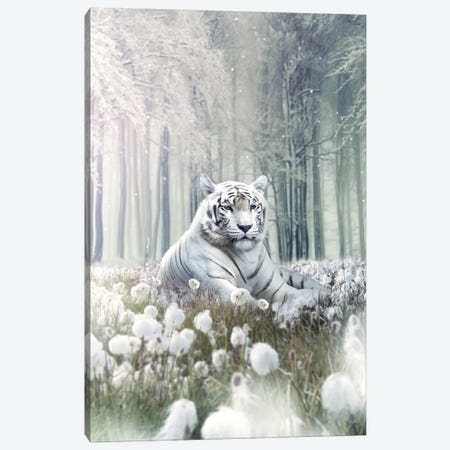 White Lion Flowers Canvas Print #ZGA54} by Zenja Gammer Canvas Wall Art