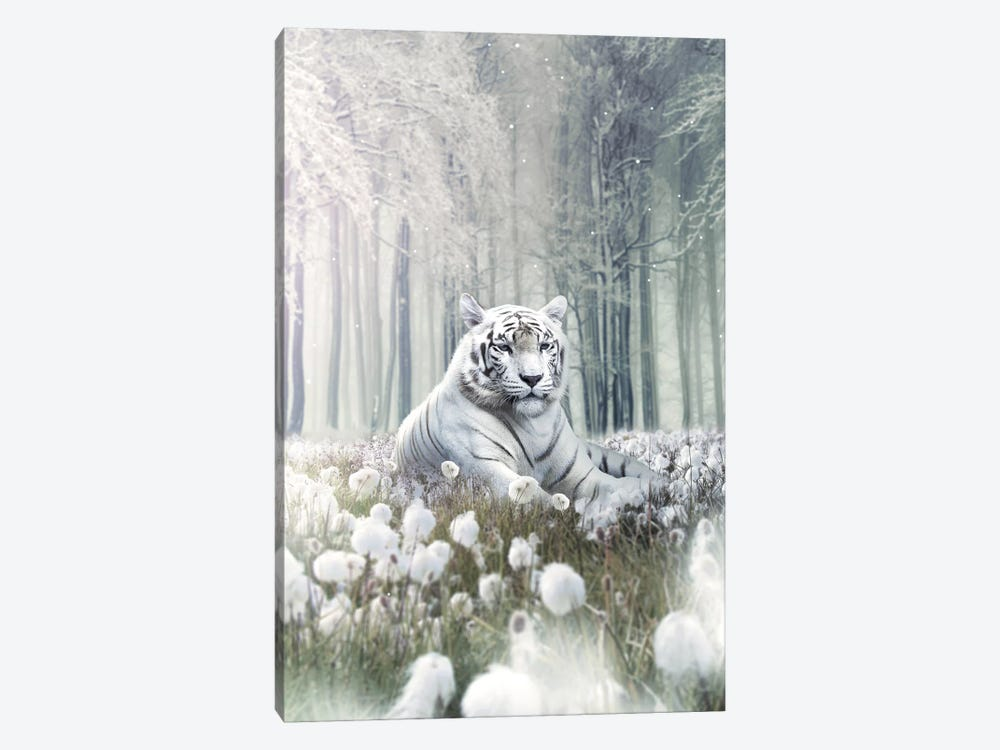 White Lion Flowers by Zenja Gammer 1-piece Canvas Wall Art