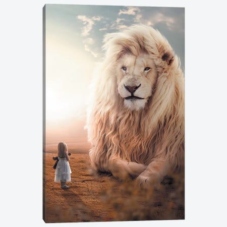 White Lion Girl Canvas Print #ZGA55} by Zenja Gammer Canvas Wall Art