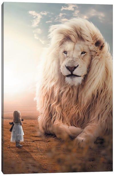 White Lion Girl Canvas Art Print