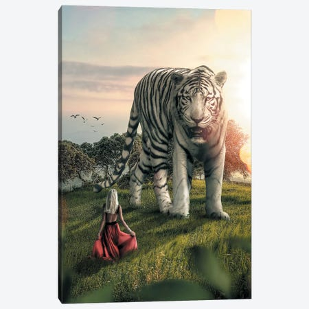 White Tiger Woman Canvas Print #ZGA56} by Zenja Gammer Canvas Art